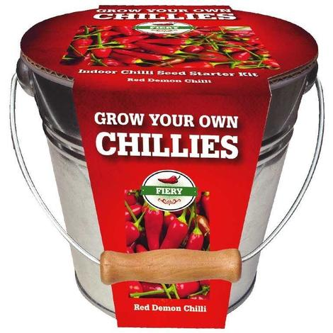 Taylors Chilli Grow your own Chilli - Red Demon Chilli Seeds - Metal Planter