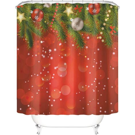 """main image of """"Taysta Shower Curtain Curtains Merry Christmas Beautiful Xmas Decor Evergreen Fir Tree Branches Jingle Bells Warm Red Pattern Bathroom Decoration 66"""" by 72"""" Shower Curtain Sets"""""""