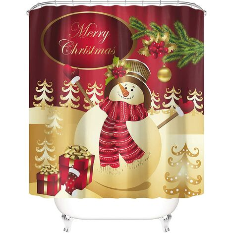 """main image of """"Taysta Shower Curtain Curtains Merry Christmas Fashion Golden Yellow Snowman Fir Tree Red Berry Xmas Gifts Bag Green Spruce Wintertime Pattern Bathroom Decoration 60"""" by 72"""" Shower Curtain Sets"""""""