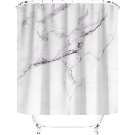 """main image of """"Taysta Shower Curtain Curtains Modern Fashion Simple Milky White Marble Black Texture Contemporary Minimalist Pattern Bathroom Decoration 60"""" by 72"""" Shower Curtain Sets"""""""