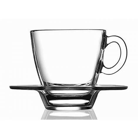 Taza Café 72cc y Plato Cristal Transparente Diseño Moderno Hogarymás
