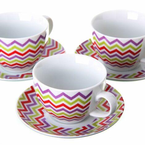 Taza con plato de té - Modelo Zigzag de colores Set seis
