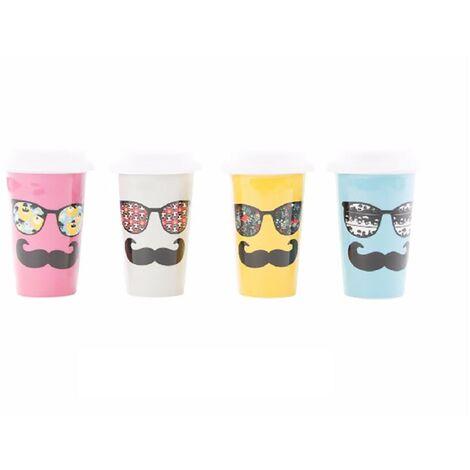 Taza Térmica con Diseño de Gafas y Bigote Blanco