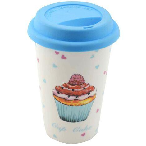 Taza Térmica Diseño Cupcake en Cerámica Azul