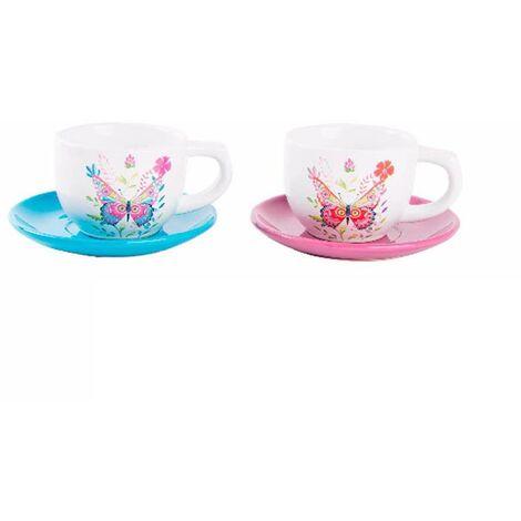 Taza y plato de cerámica con diseño alegre Butterfly Rosa