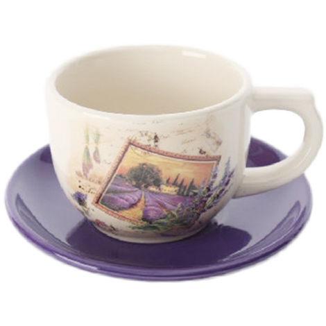 Taza y plato de cerámica , lavanda