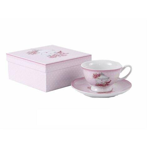 Taza y plato de porcelana con caja de regalo - Modelo jaula