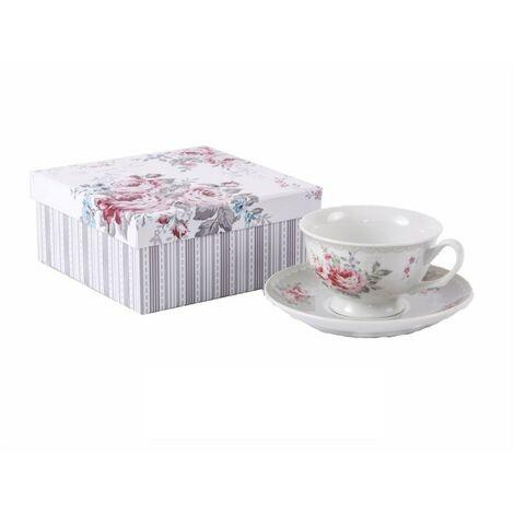 Taza y plato de porcelana con caja de regalo - Modelo rosas