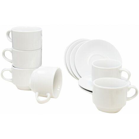Tazas de café, juego de 6 tazas y 6 platos de porcelana blanca.