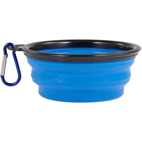 Tazon plegable para mascotas, L, marco negro, azul