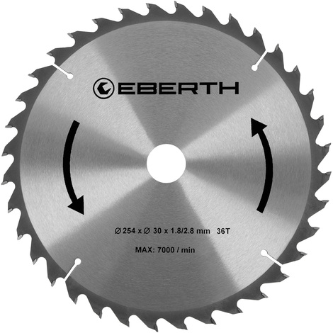 TCT Circular Saw Blade for Wood Cuts (254 x 2,8 x 30 mm, 36 Teeth, long lifetime) Carbide
