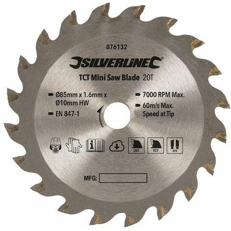 TCT Mini Saw Blade 85mm Dia - 10mm Bore - 20T
