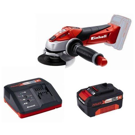 TE-AG 18 Li Meuleuse + 2 Batteries 4Ah + Chargeur Rapide Intelligent Einhell