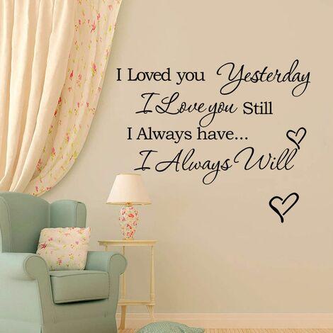 Te amé ayer, todavía te amo, vinilo, citame, pegatinas de pared, pegatina Hasaki