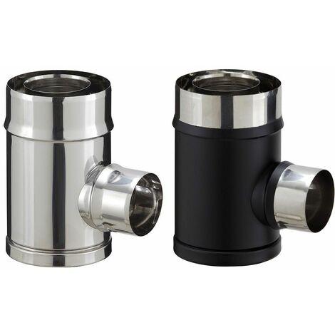 Té de branchement inox pour poêle à granulés - PGI pour poêles à Pellets - Diamètre 80/130 - Finition : Noir mat (piquage simple paroi)