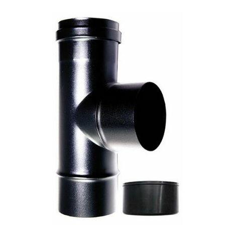 té de la chaudière d'assemblage 90 ° fm m dn-100 réduit au poêle à pellets de 80 mm ou d'un tube en acier émaillé noir de bois 600 degrés this made in Italy