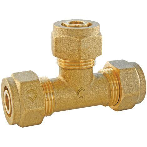 Té égal à compression pour tube PER - plusieurs modèles disponibles