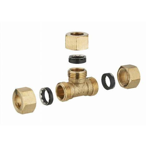 Té laiton à joint mixte égal pour tube cuivre NOYON & THIEBAULT - Ø 12 mm - 512G-12L1