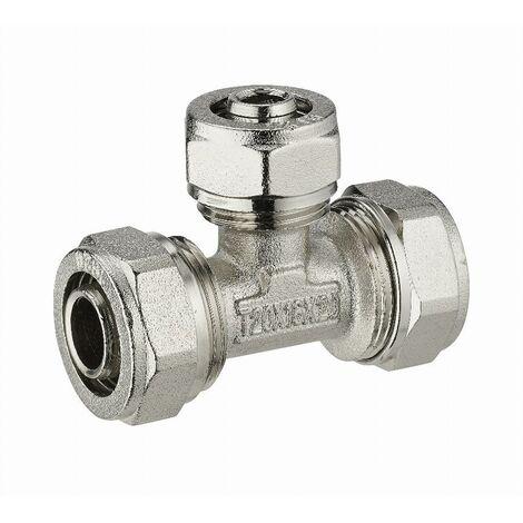 Té réduit à compression pour tube multicouche NOYON & THIEBAULT - Ø 20 mm piquage au centre tube multicouche - Ø 16 mm Bague à sertir en inox - 3985-201620L1