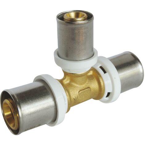 Té réduit au centre à sertir pour tube Multicouche Ø20 - Ø16 - Ø20