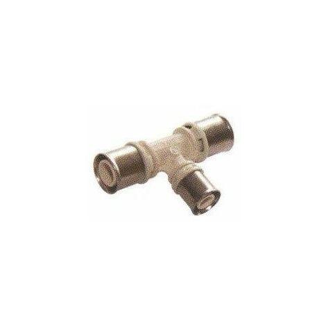 Té réduit avec sortie centrale réduite pour tube multicouches - Diamètre : 20- 16- 20