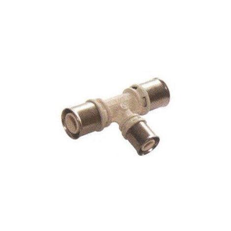 Té réduit avec sortie centrale réduite pour tube multicouches - Diamètre : 32- 26- 32