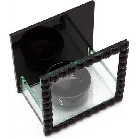 Tea Light Holder Glass with Black Jewels