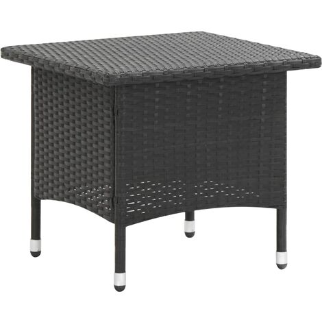 Tea Table Black 50x50x47 cm Poly Rattan - Black