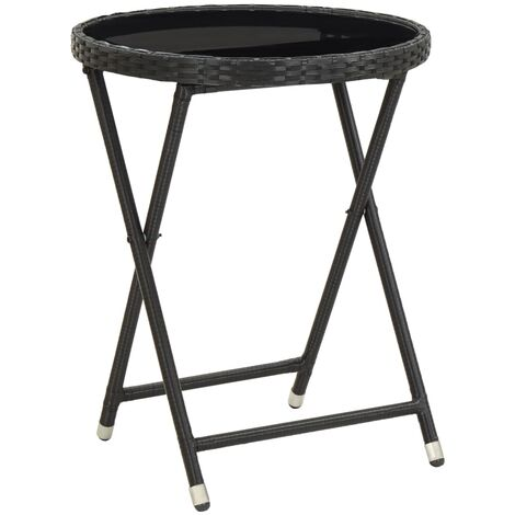Tea Table Black 60 cm Poly Rattan and Tempered Glass