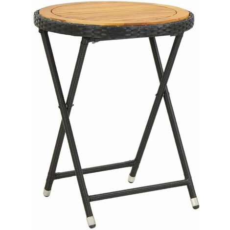 Tea Table Black 60 cm Solid Acacia Wood