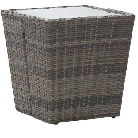 Tea Table Grey 41.5x41.5x43 cm Tempered Glass