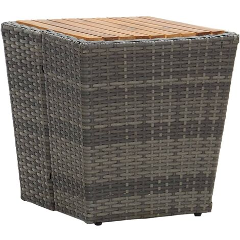 Tea Table Grey 41.5x41.5x43cm Poly Rattan and Solid Acacia Wood