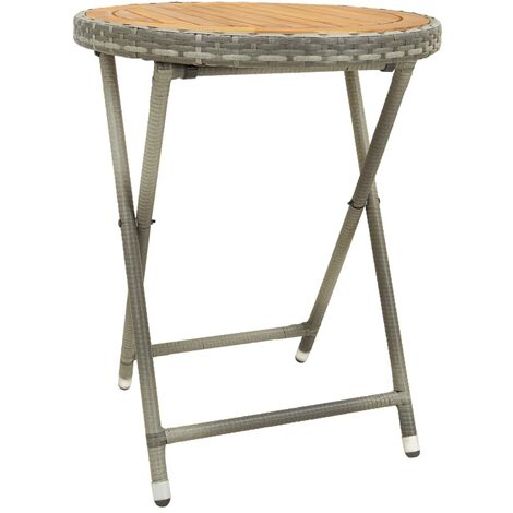 Tea Table Grey 60 cm Poly Rattan and Solid Acacia Wood