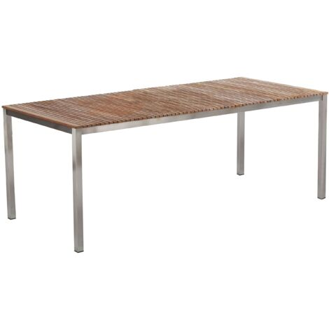 Teak Garden Dining Table 200 x 90 cm Light Wood VIAREGGIO