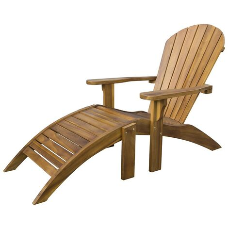 Teak Hardwood Adirondack Patio Garden Chair with Footstool - Wooden Sun Lounger