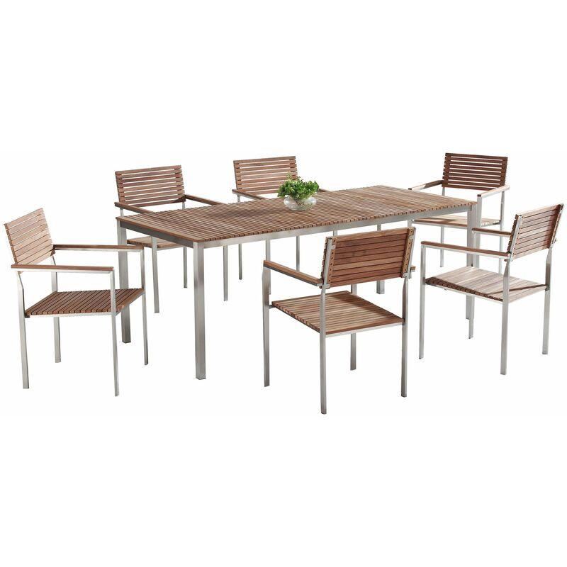 Gartenmöbel Set Braun Teakholz Edelstahl 200 cm 6 Stühle Terrasse Outdoor Modern - BELIANI