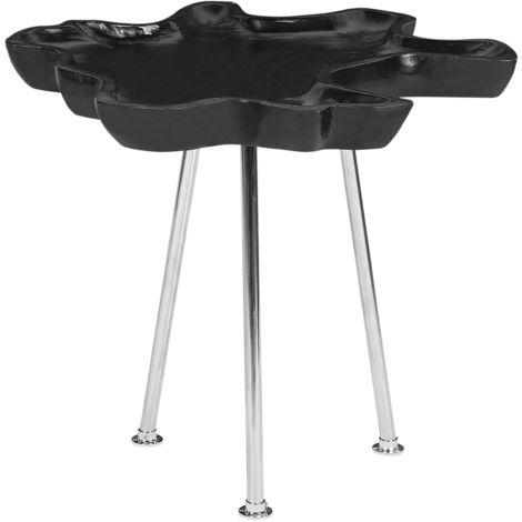 Teak Wood Side Table Black LEOLA