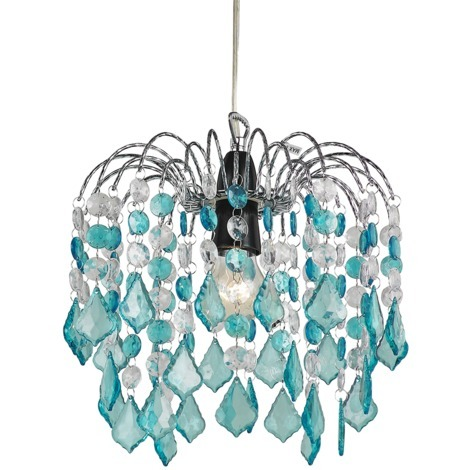 Teal Acrylic Easy Fit Pendant Light Shade with Chrome Metal Frame by Happy Homewares