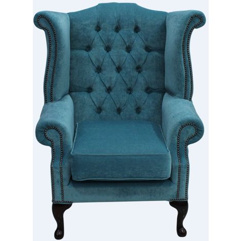 """main image of """"Teal Blue Velvet Chesterfield Queen Anne High Back chair   DesignerSofas4U"""""""