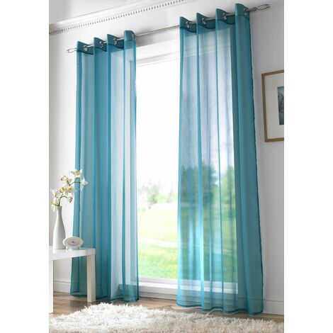 """Teal Eyelet Ring Top Voile Curtain Panel 108"""" Drop"""