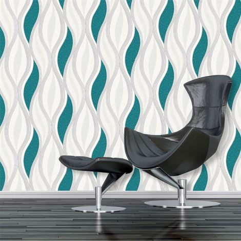 Teal Green Waves Silver White Glitter Quality Textured Vinyl Feature Wallpaper