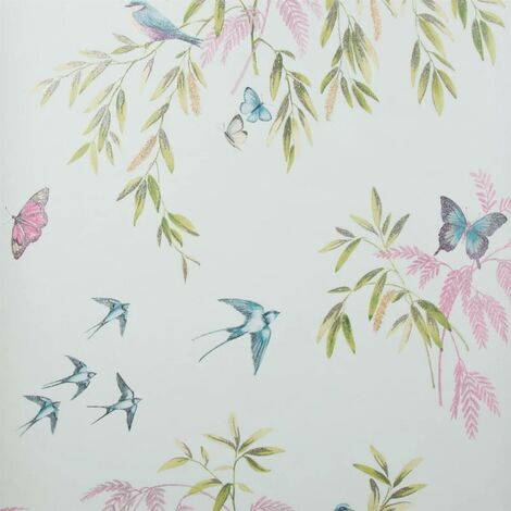 Teal Halcyon Days Glittery Wallpaper Woodland Theme Embossed Vinyl Washable