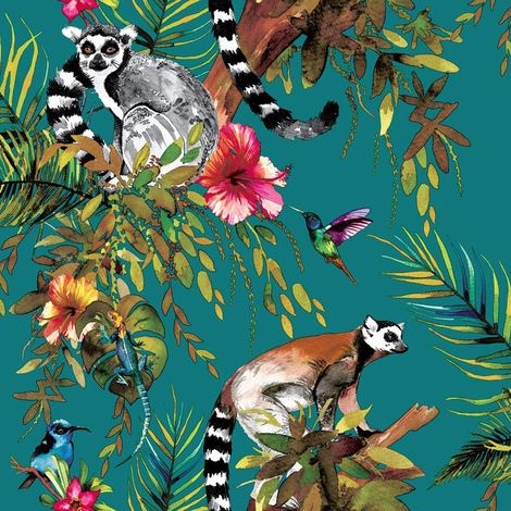 Teal Multicoloured Lemur Wallpaper Monkeys Flowers Floral Trees Animals Holden
