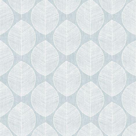 Teal Scandi Leaf Wallpaper Floral Flower Geometric Luxury Modern Arthouse
