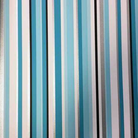 Teal Silver Blue White Black Striped Stripe Wallpaper Metallic Modern Luxury