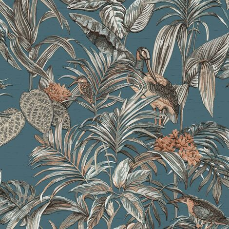 Teal Tropical Wallpaper Birds Palm Textured Blue Cream Paste the Wall Vinyl