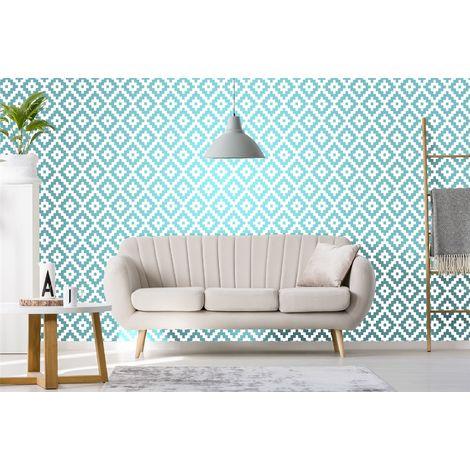 Teal White 3D Pixel Geometric Glitter Embossed Wallpaper Paste The Wall Vinyl
