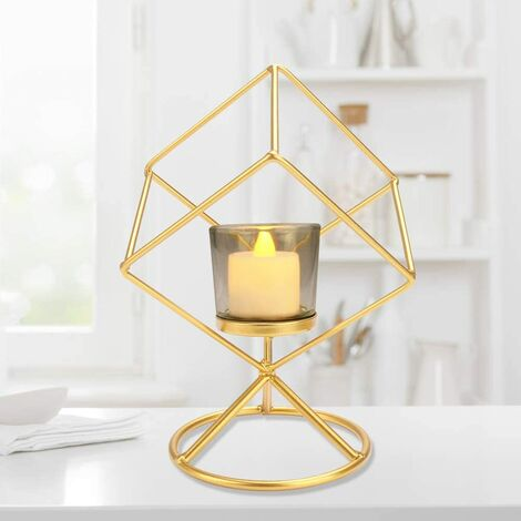 Tealight Candle Holder, Geometric Metal Candle Holders, Retro Candle Holder Tealight Holder Creative Vintage Candle Holder Used for Mother's Day / Wedding / Party Events / Home Decoration, Gold