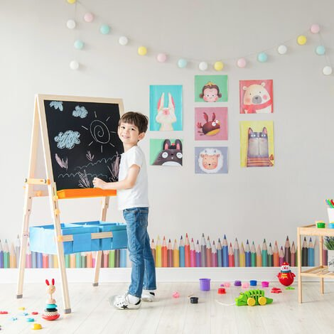 Teamson Kids 3 in 1 Wooden Easel Drawing Blackboard Whiteboard Adjustable & Accessories TK-FB028G