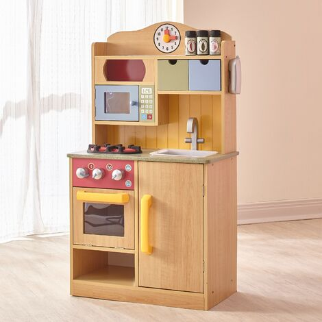 """main image of """"Teamson Kids Burlywood Kids Wooden Play Kitchen Toy & 5 Accessories TD-11708A"""""""